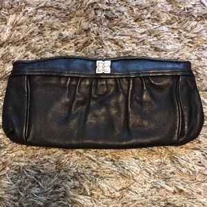 BCBG MAXAZRIA CLUTCH Genuine Black Leather
